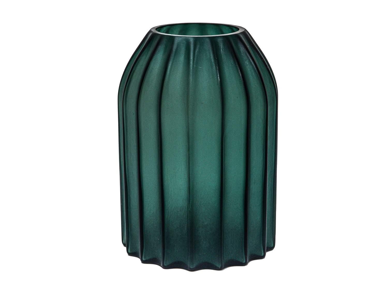 Dark Green Glass Vase 9 in.